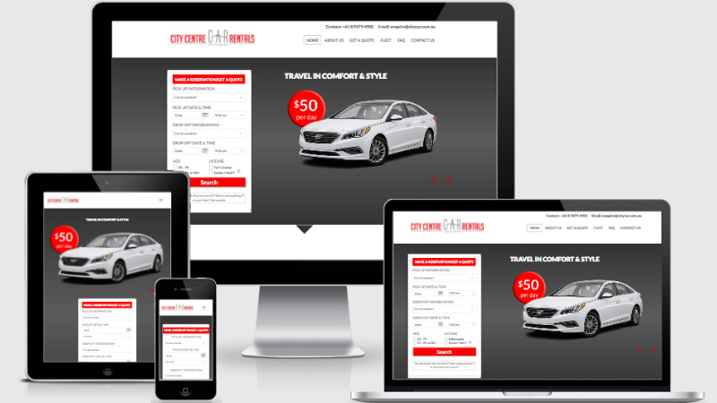 Website for City Car Rentals. Built by Summit Web. Perth's web design agency