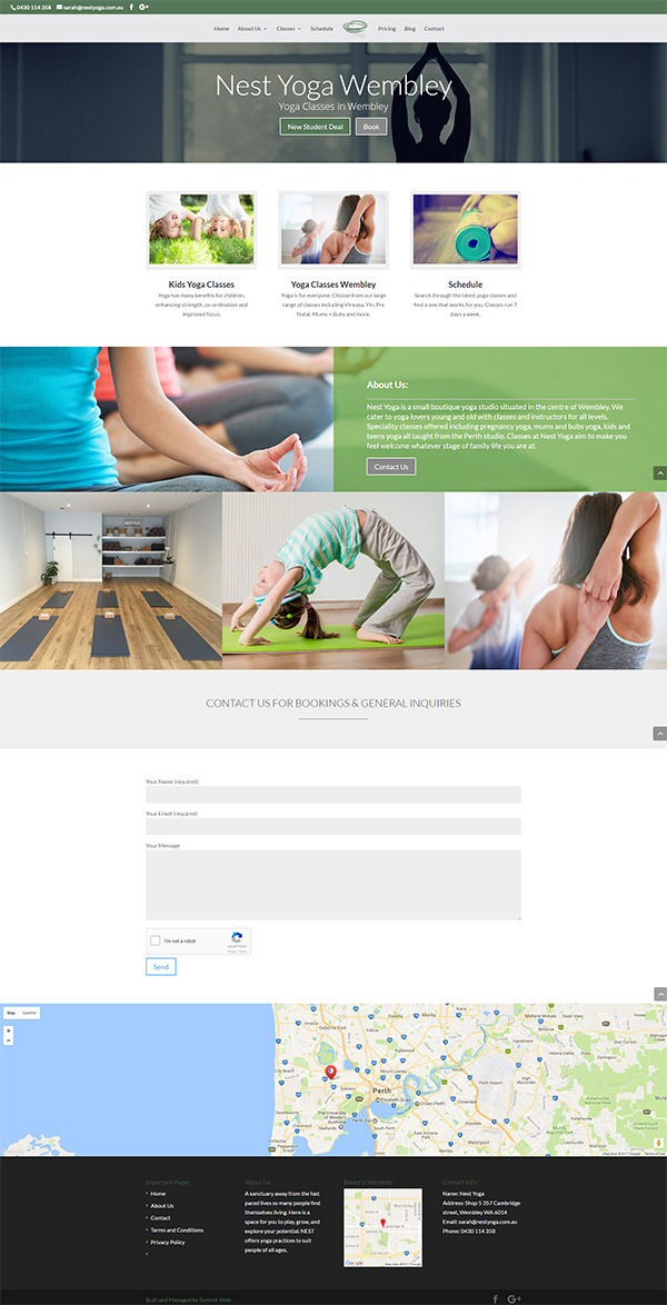 High Quality Web Design and Development for Nest Yoga in Wembley. Built by Summit Web in Perth.