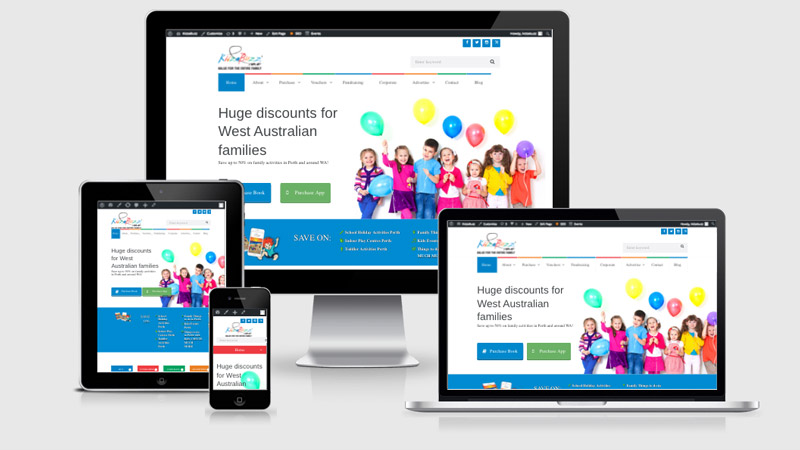 Kidzabuzz website created by Summit Web, Perth's affordable web design services. The website is shown on tablet, mobile and desktop.