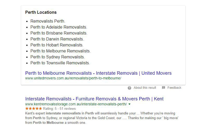 A local service based business featured snippet. Ranking for a featured snippet in Perth, Australia