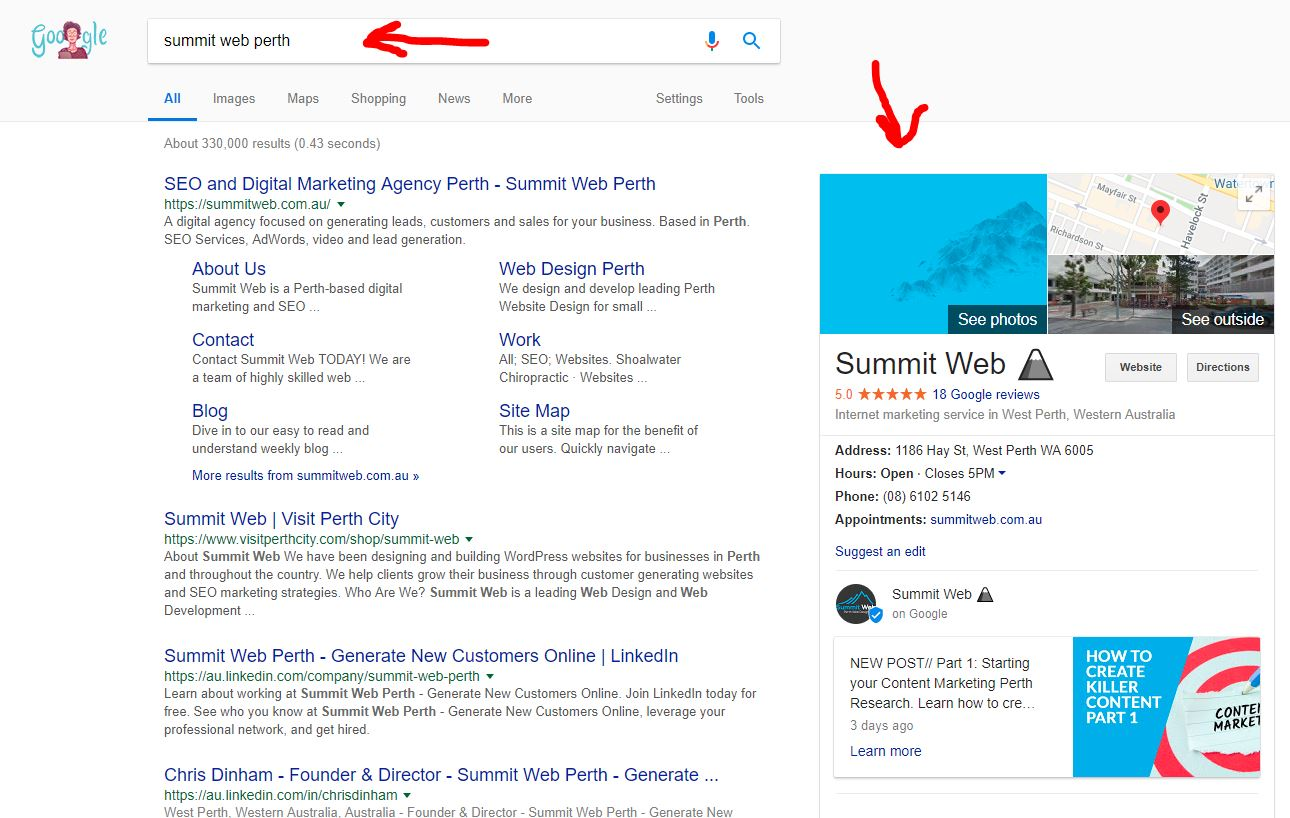 summit web google my business page to help increase seo in Perth