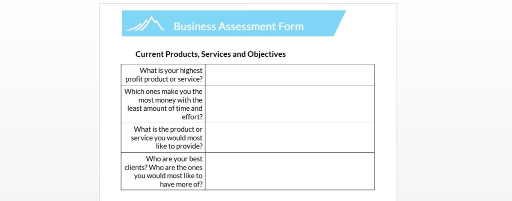 example of some of the questions we ask a business to better learn about their ideal customer.