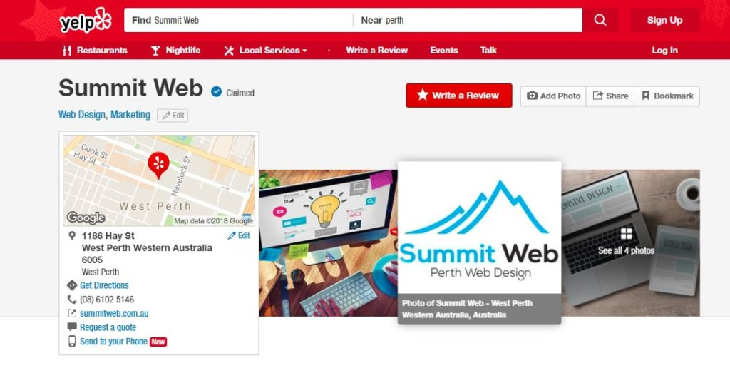 summit web yelp directory which is good for helping your seo in Perth