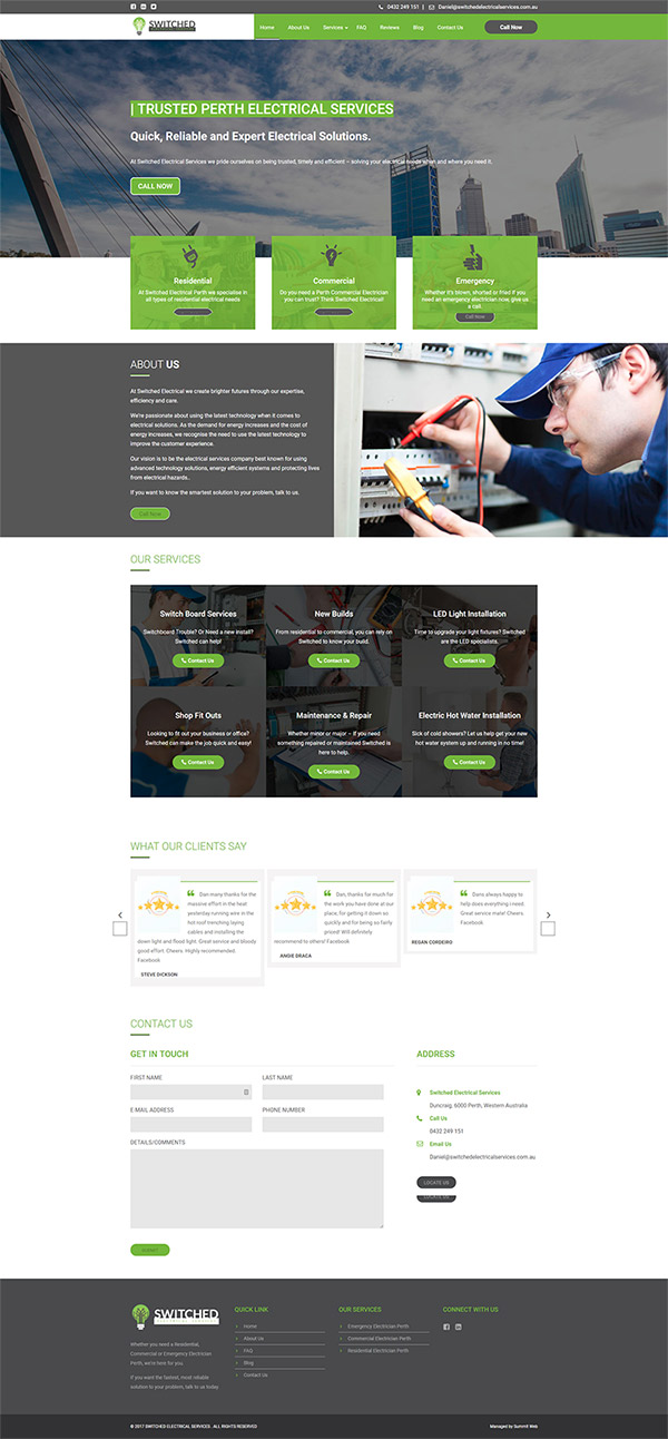 Electrical Service Website Build for Joondalup Client