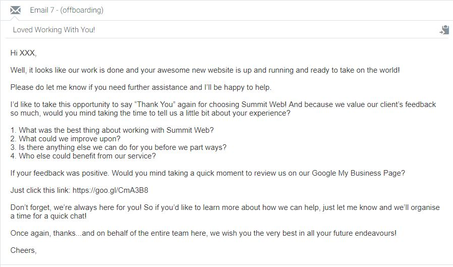 off-boarding email for Summit wEB