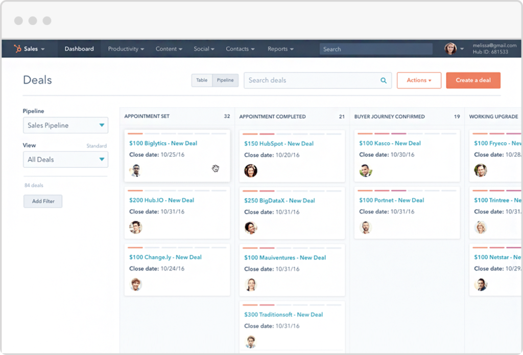 Hubspot can be used to keep a database of your users