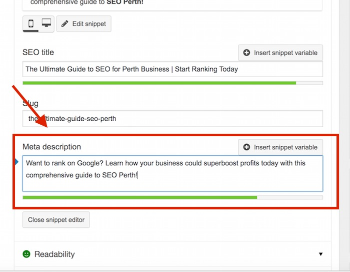 How to edit a Meta Description for Summit Web Ultimate Guide to SEO