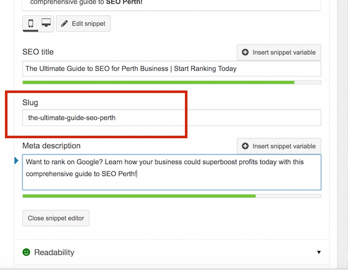 How to edit a slug for Summit Web Ultimate Guide to SEO